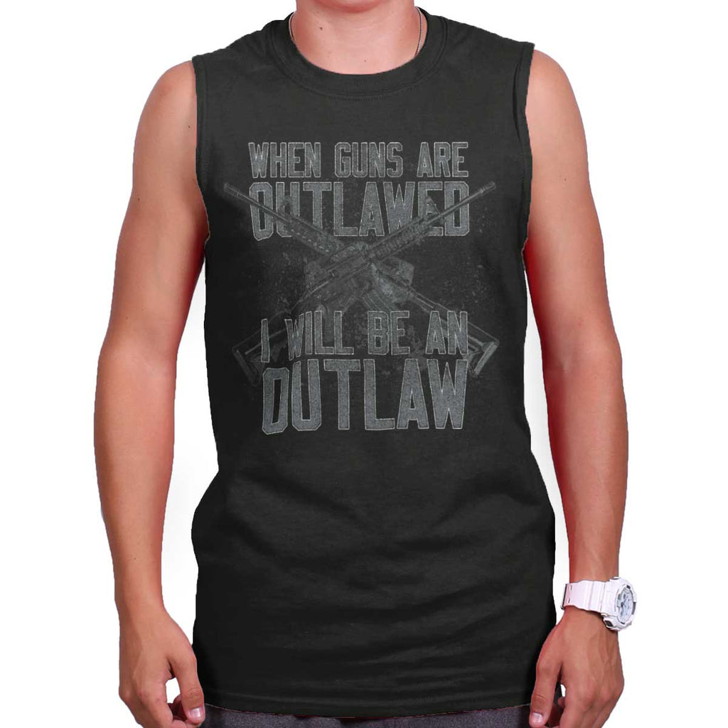 Black|Outlaw Sleeveless T-Shirt|Tactical Tees