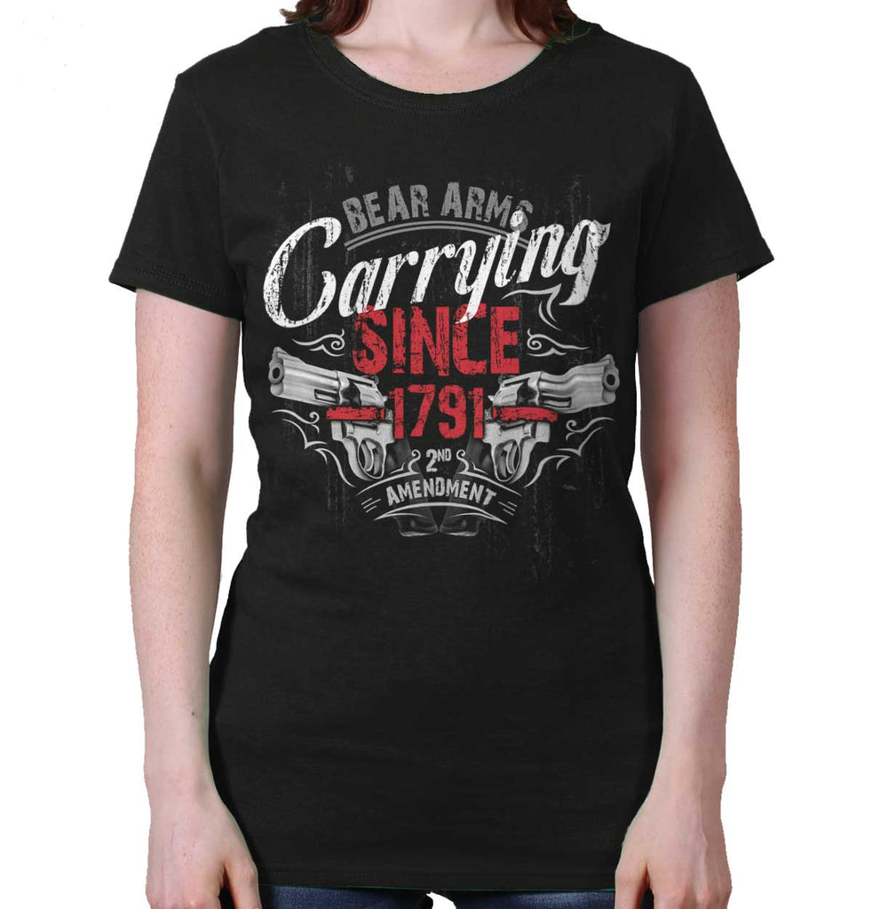 Black|Carrying Since Ladies T-Shirt|Tactical Tees