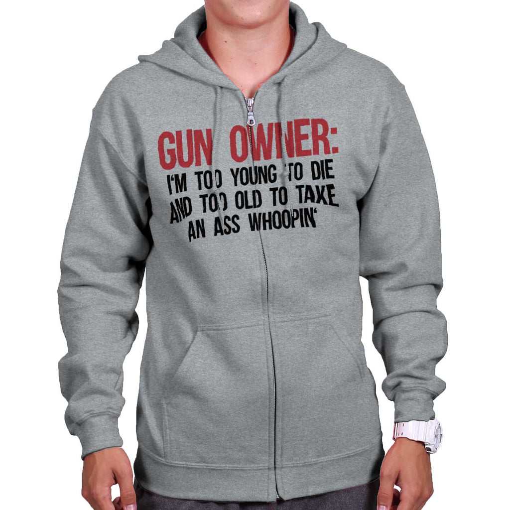 SportGrey|Gun Owner Too Young Zip Hoodie|Tactical Tees