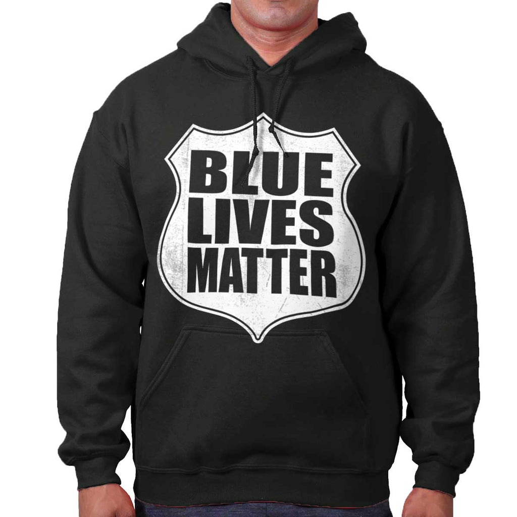 Black|Blue Lives Matter Shield Hoodie|Tactical Tees