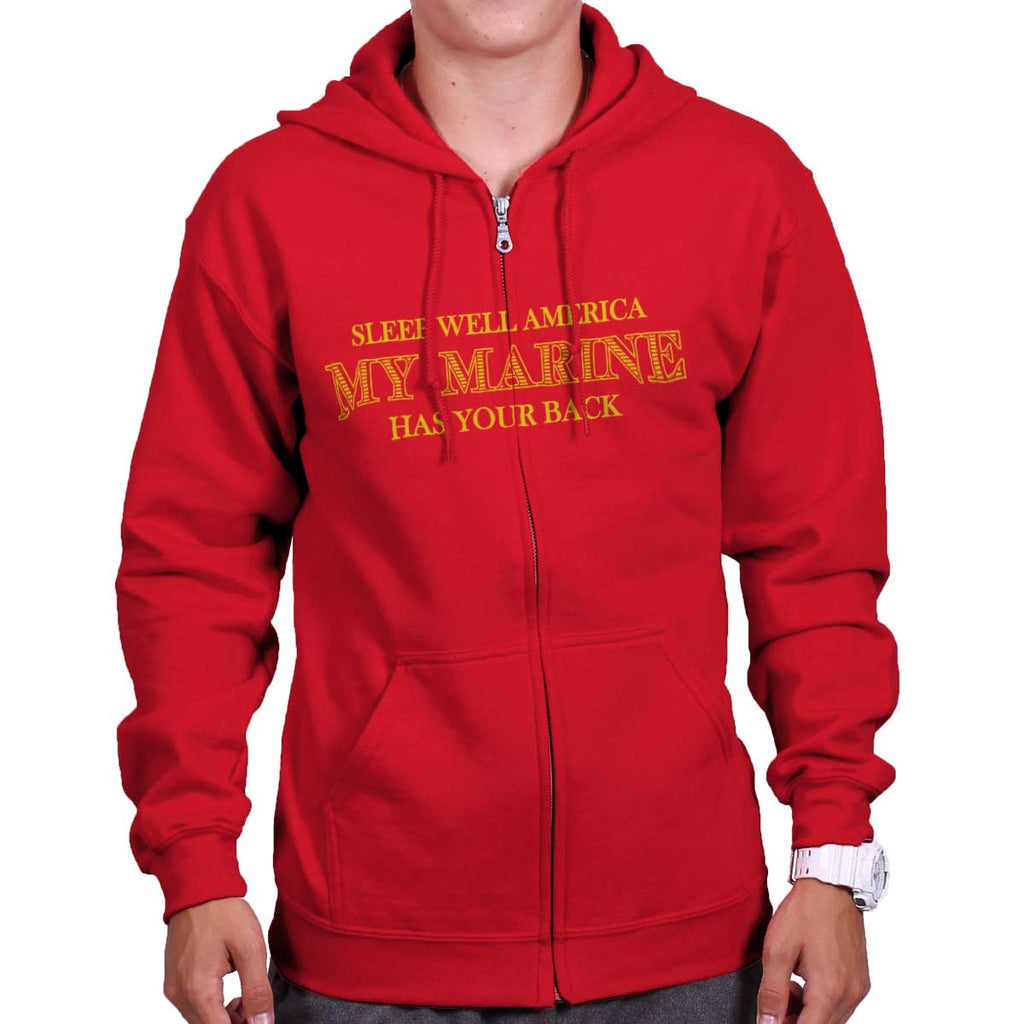 Red|This Marine Has Your Back Zip Hoodie|Tactical Tees