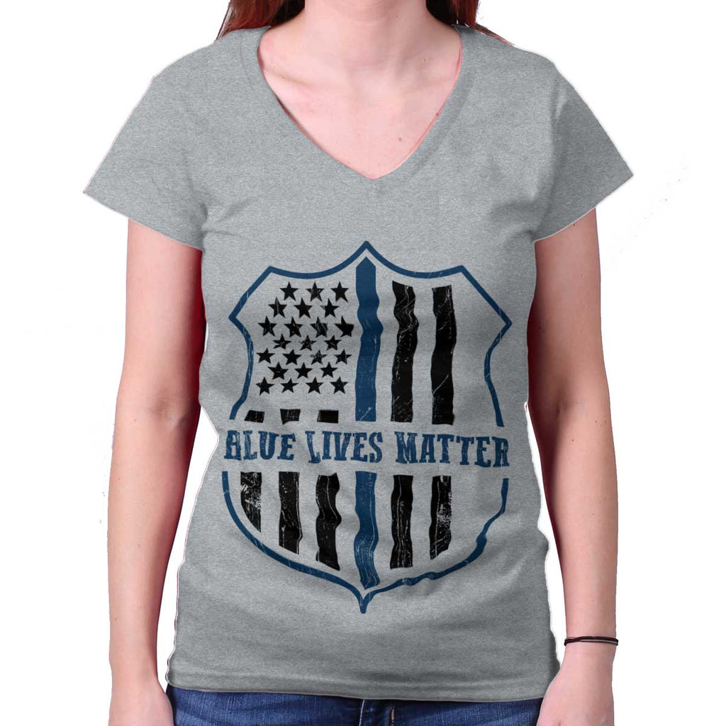 SportGrey|Blue Lives Matter Flag Junior Fit V-Neck T-Shirt|Tactical Tees