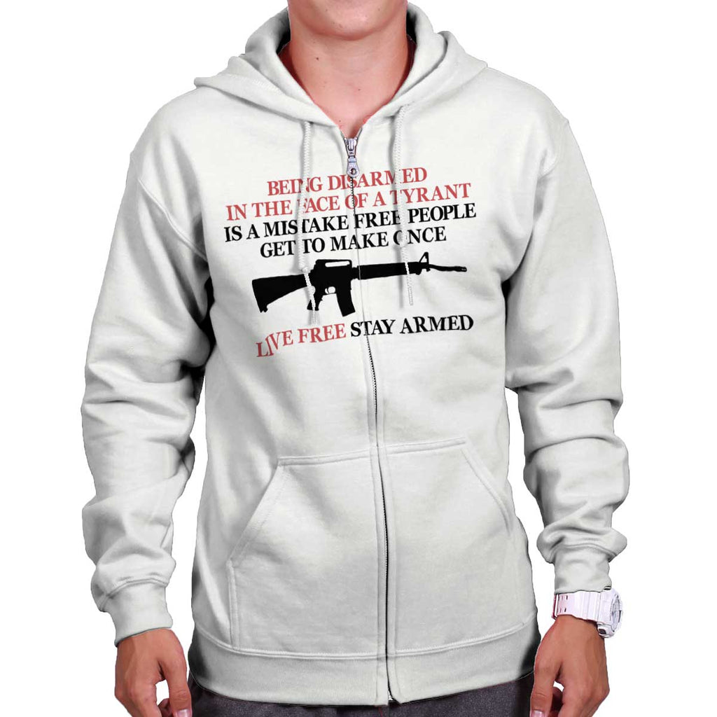 White|Live Free Stay Armed Zip Hoodie|Tactical Tees