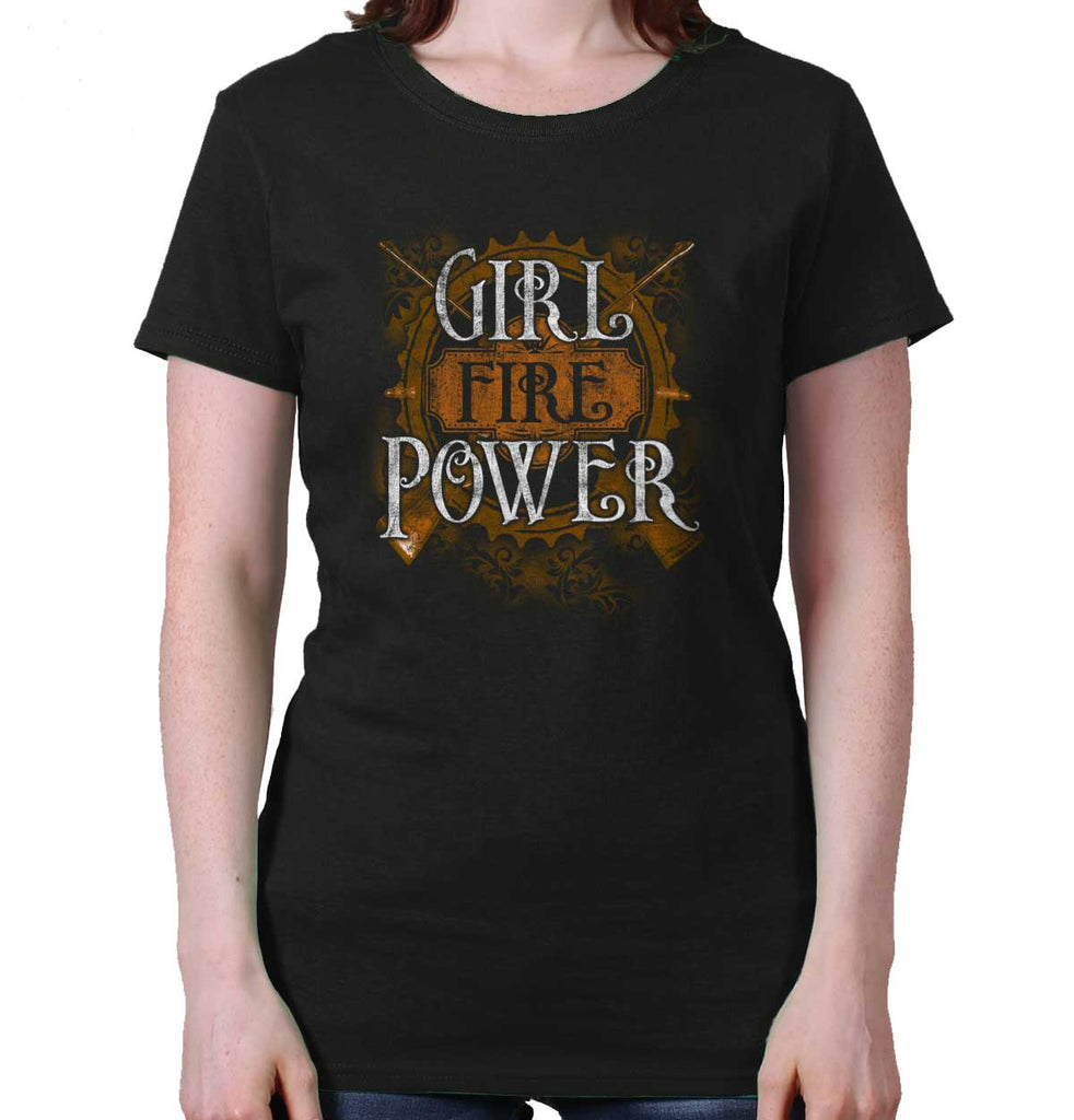 Black|Girl Fire Power Ladies T-Shirt|Tactical Tees