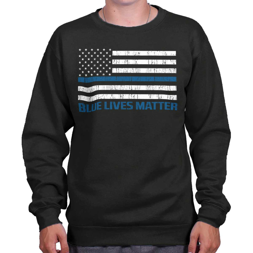 Black|Blue Lives Matter Flag Crewneck Sweatshirt|Tactical Tees