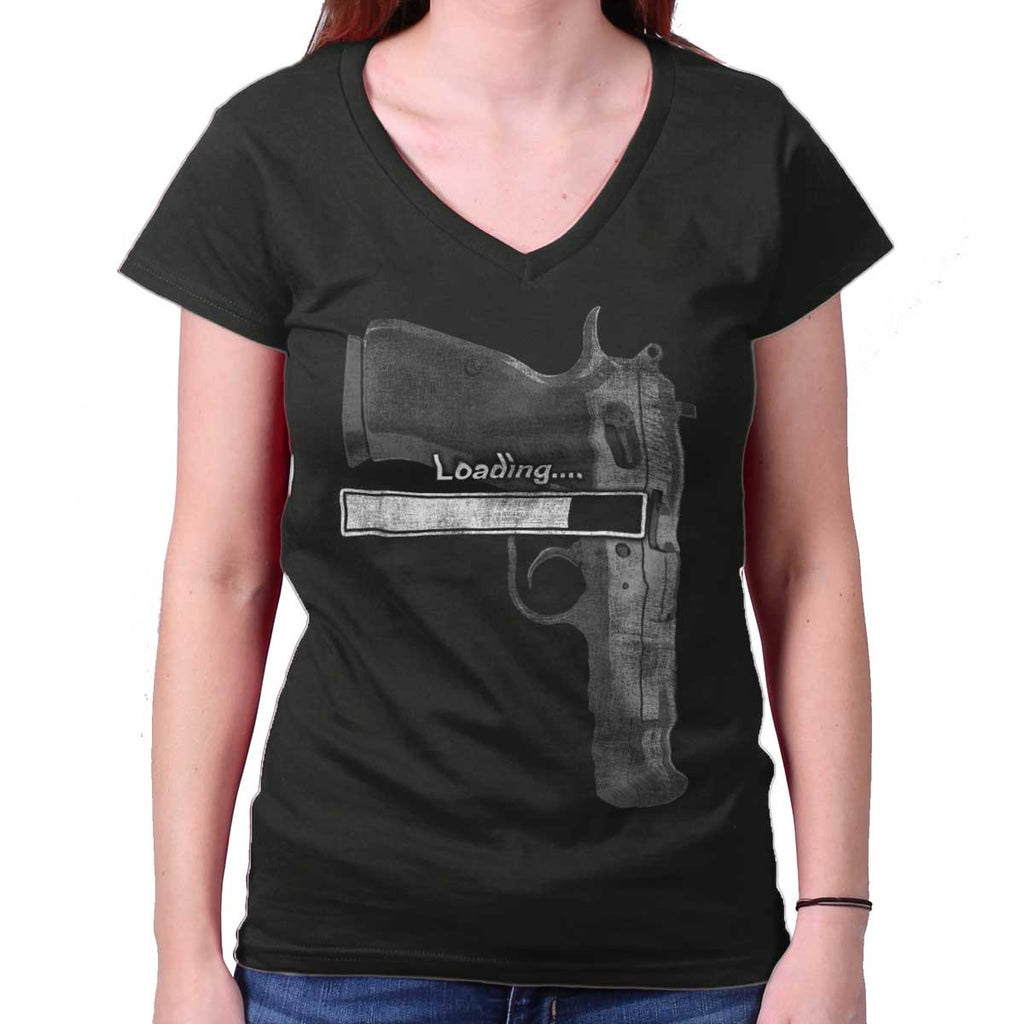 Black|Loading… Junior Fit V-Neck T-Shirt|Tactical Tees