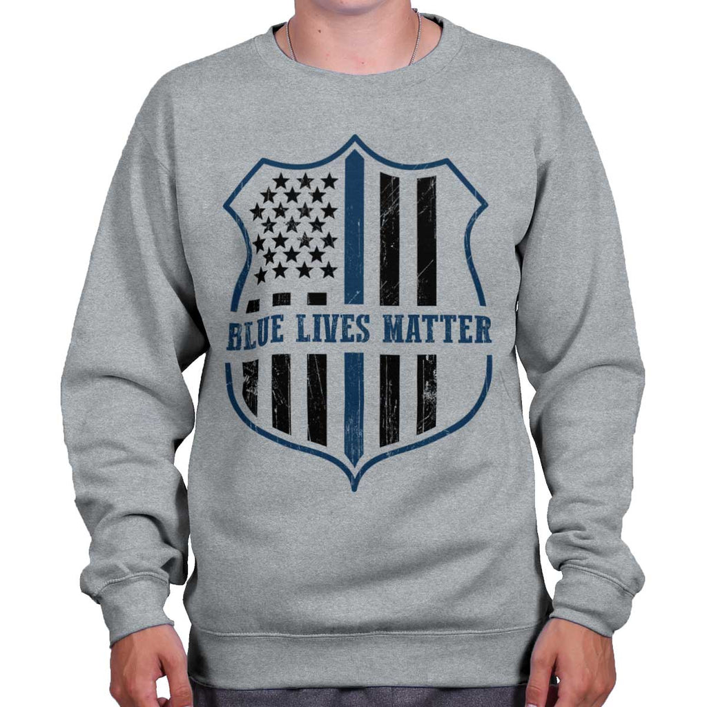 SportGrey|Blue Lives Matter Flag Crewneck Sweatshirt|Tactical Tees