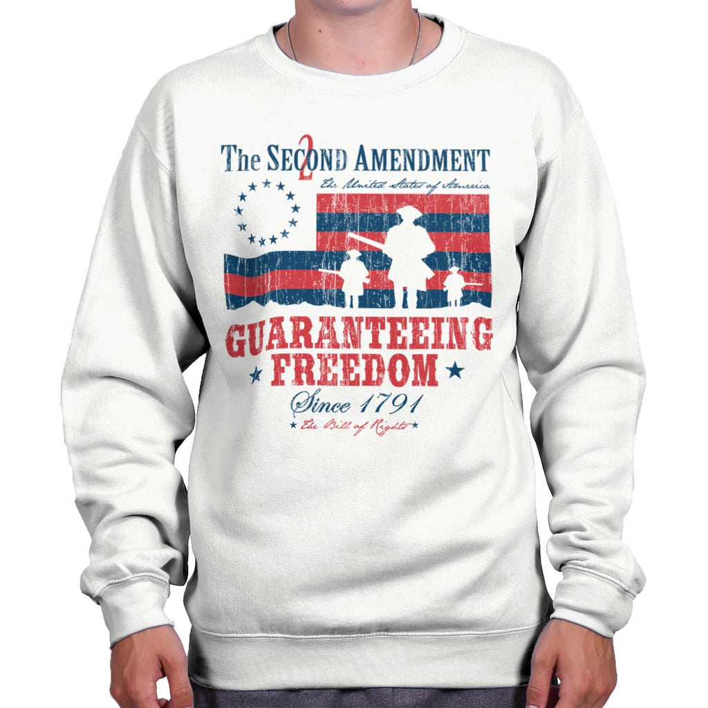 White|Guaranteeing Freedom Crewneck Sweatshirt|Tactical Tees