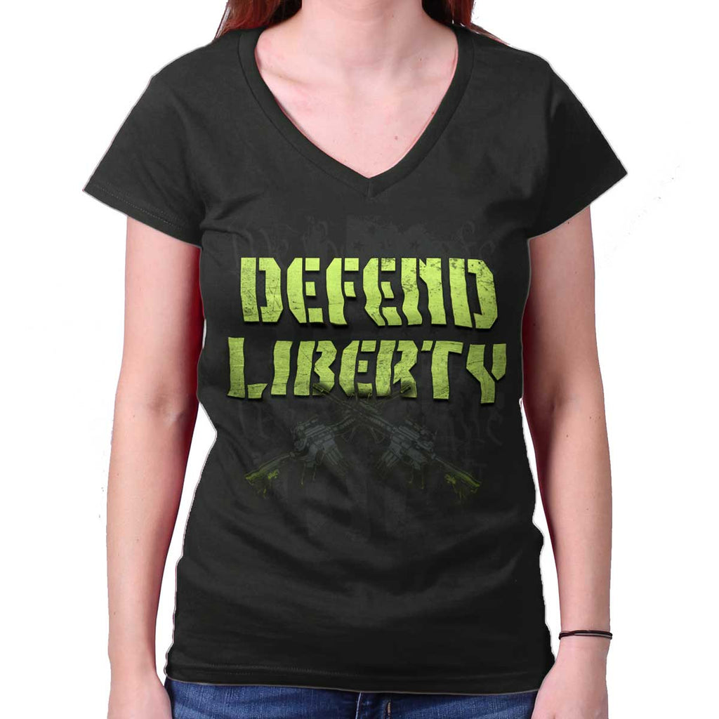 Black|Defend Liberty Junior Fit V-Neck T-Shirt|Tactical Tees