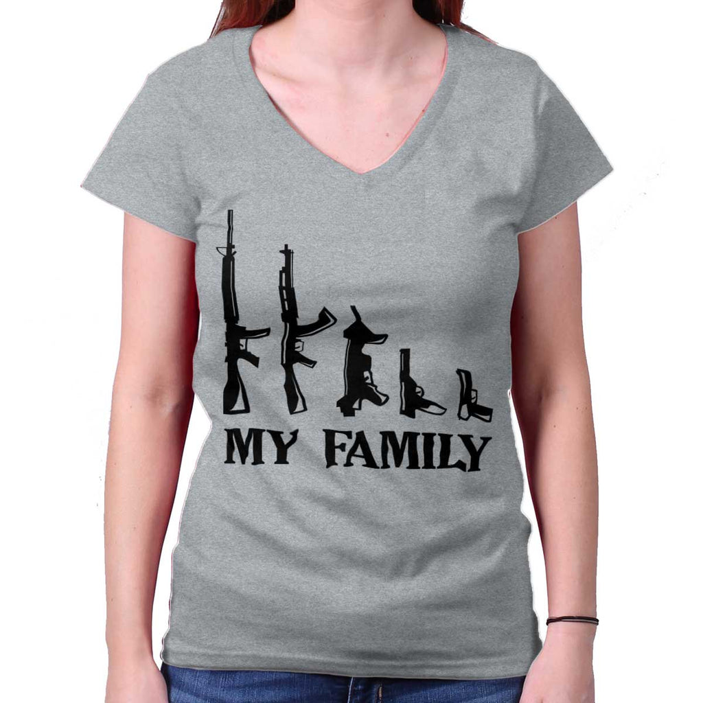 SportGrey|My Family Junior Fit V-Neck T-Shirt|Tactical Tees