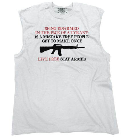 White|Live Free Stay Armed Sleeveless T-Shirt|Tactical Tees