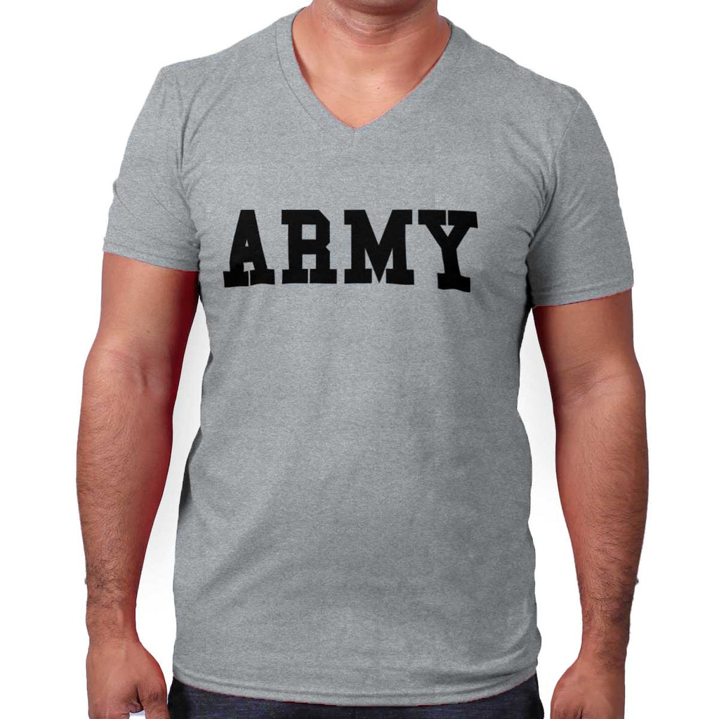 SportGrey|Army Logo V-Neck T-Shirt|Tactical Tees