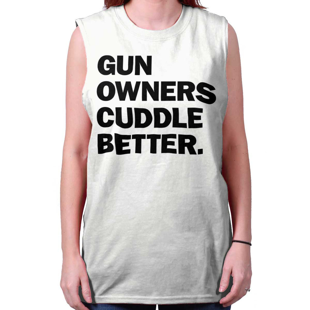 White|Cuddle Better Sleeveless T-Shirt|Tactical Tees