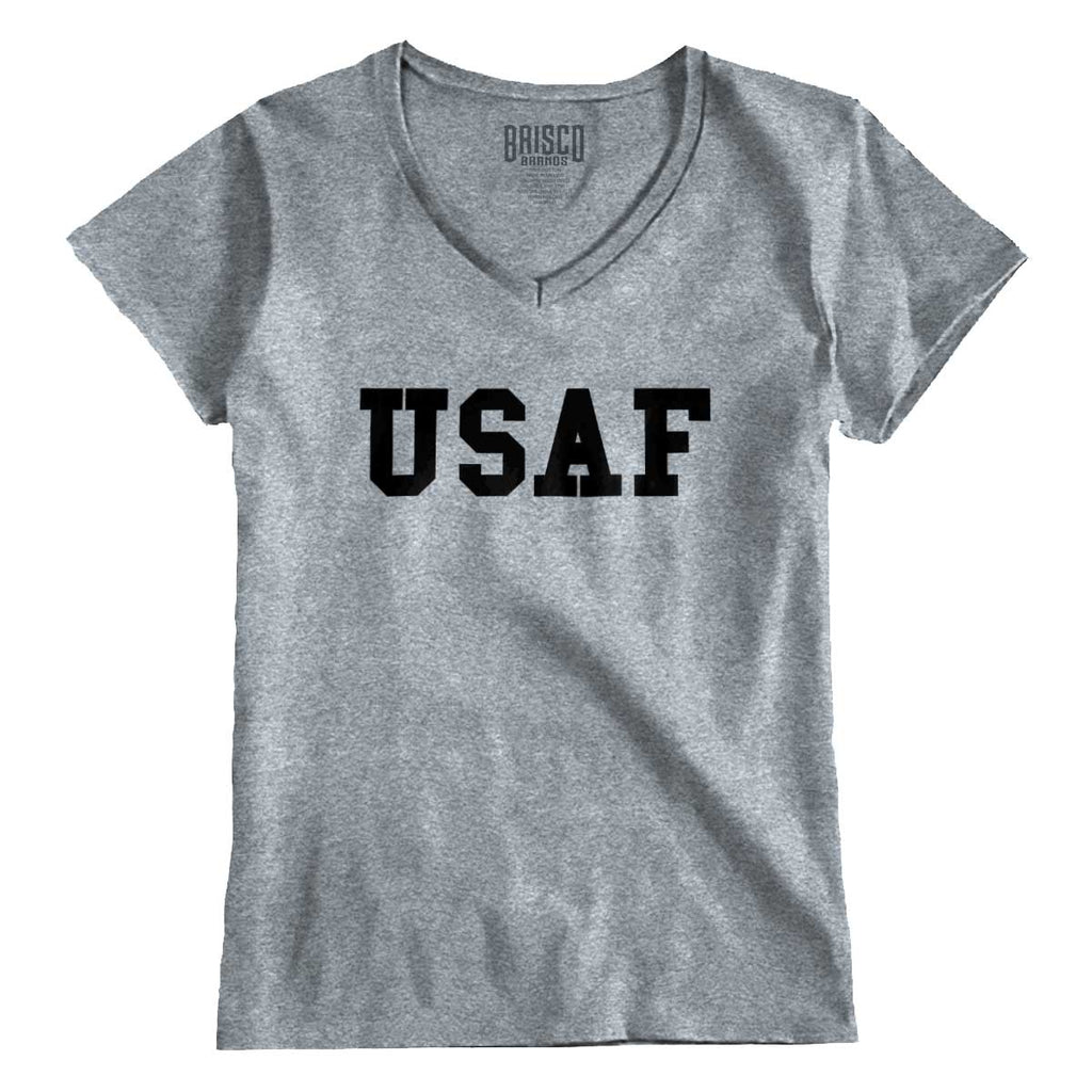 SportGrey|USAF Logo Junior Fitted V-Neck T-Shirt|Tactical Tees