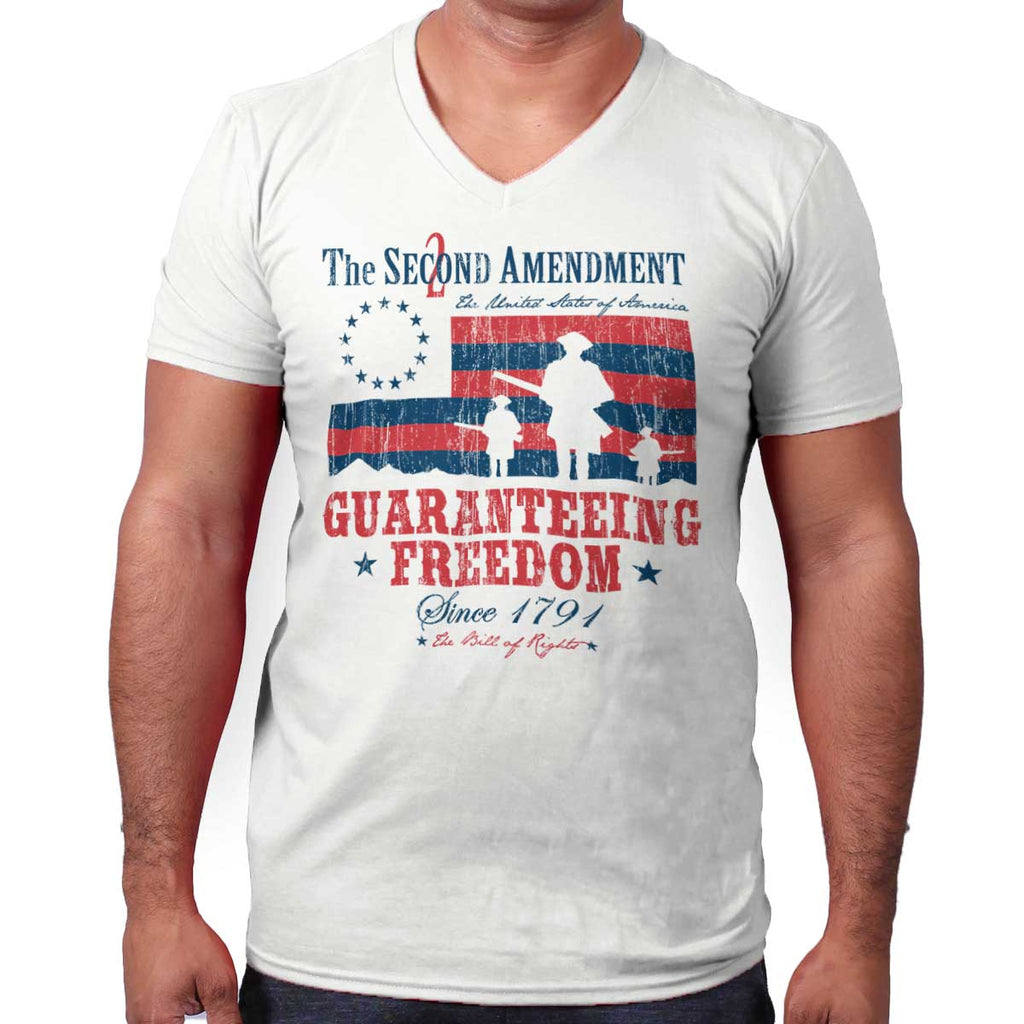 White|Guaranteeing Freedom V-Neck T-Shirt|Tactical Tees