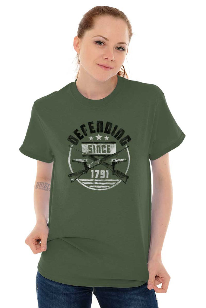 Female_MilitaryGreen2|Defending Since T-Shirt|Tactical Tees