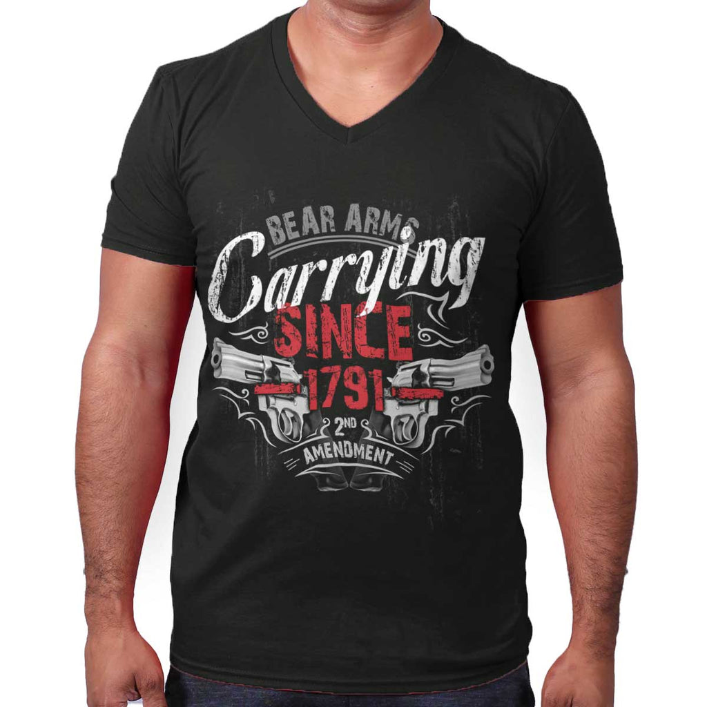 Black|Carrying Since V-Neck T-Shirt|Tactical Tees