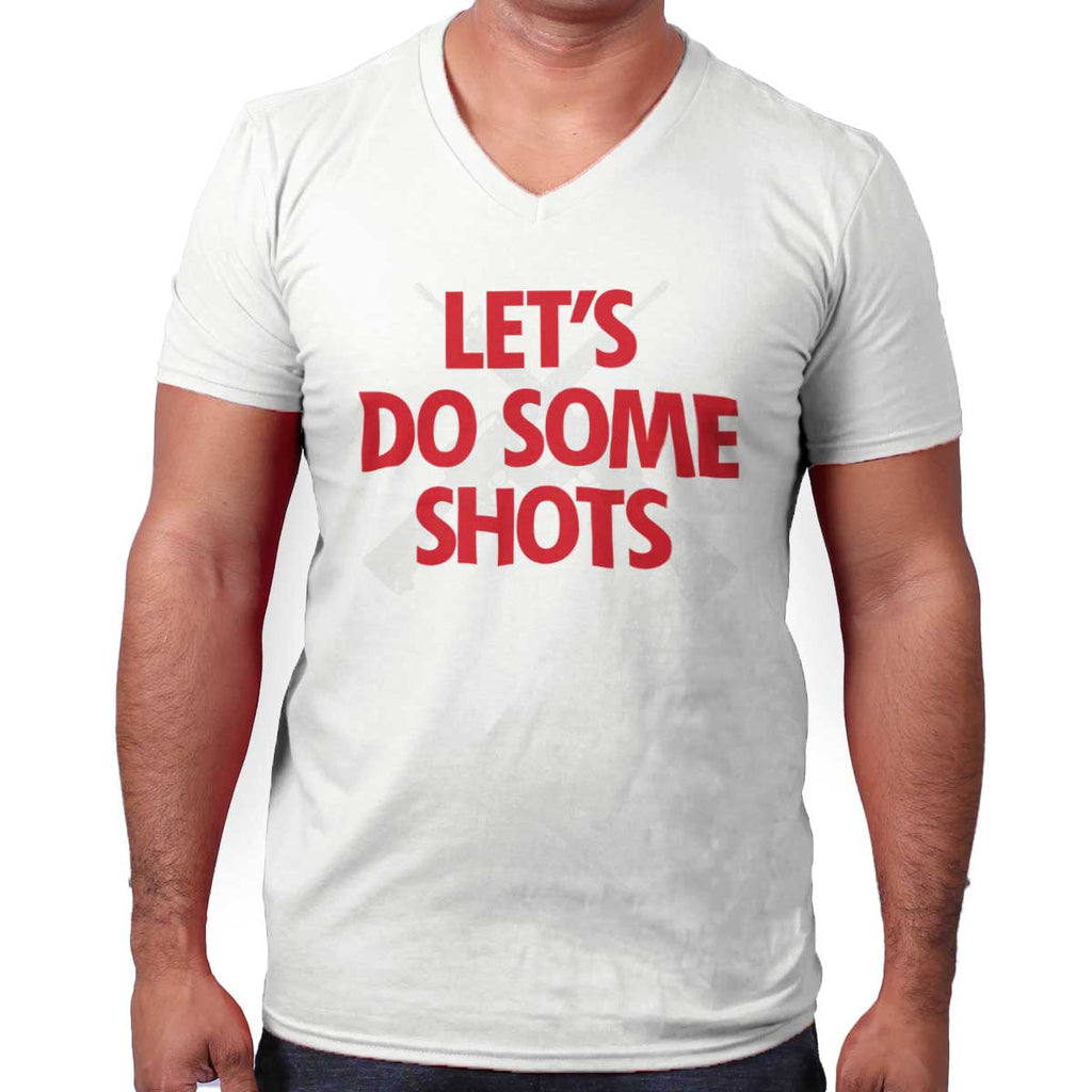 White|Lets Do Shots V-Neck T-Shirt|Tactical Tees