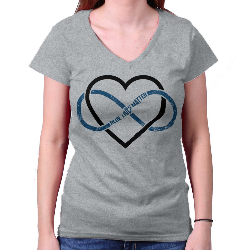 SportGrey|Blue Lives Matter Heart Infinity Junior Fit V-Neck T-Shirt|Tactical Tees