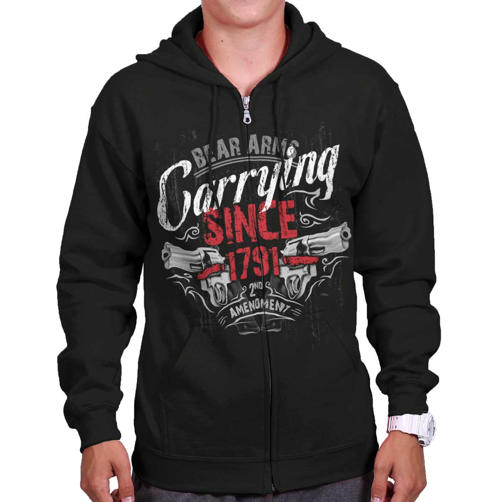 Black|Carrying Since Zip Hoodie|Tactical Tees