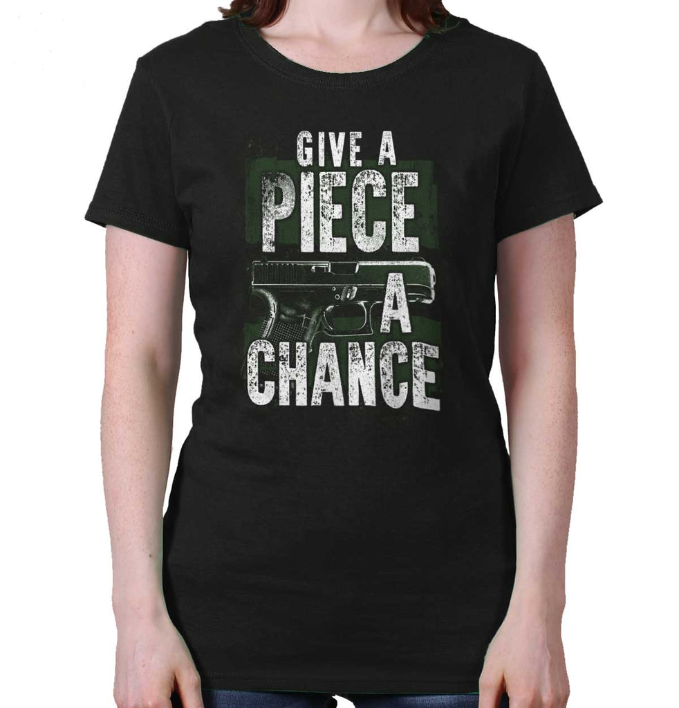 Black|Give Piece a Chance Ladies T-Shirt|Tactical Tees