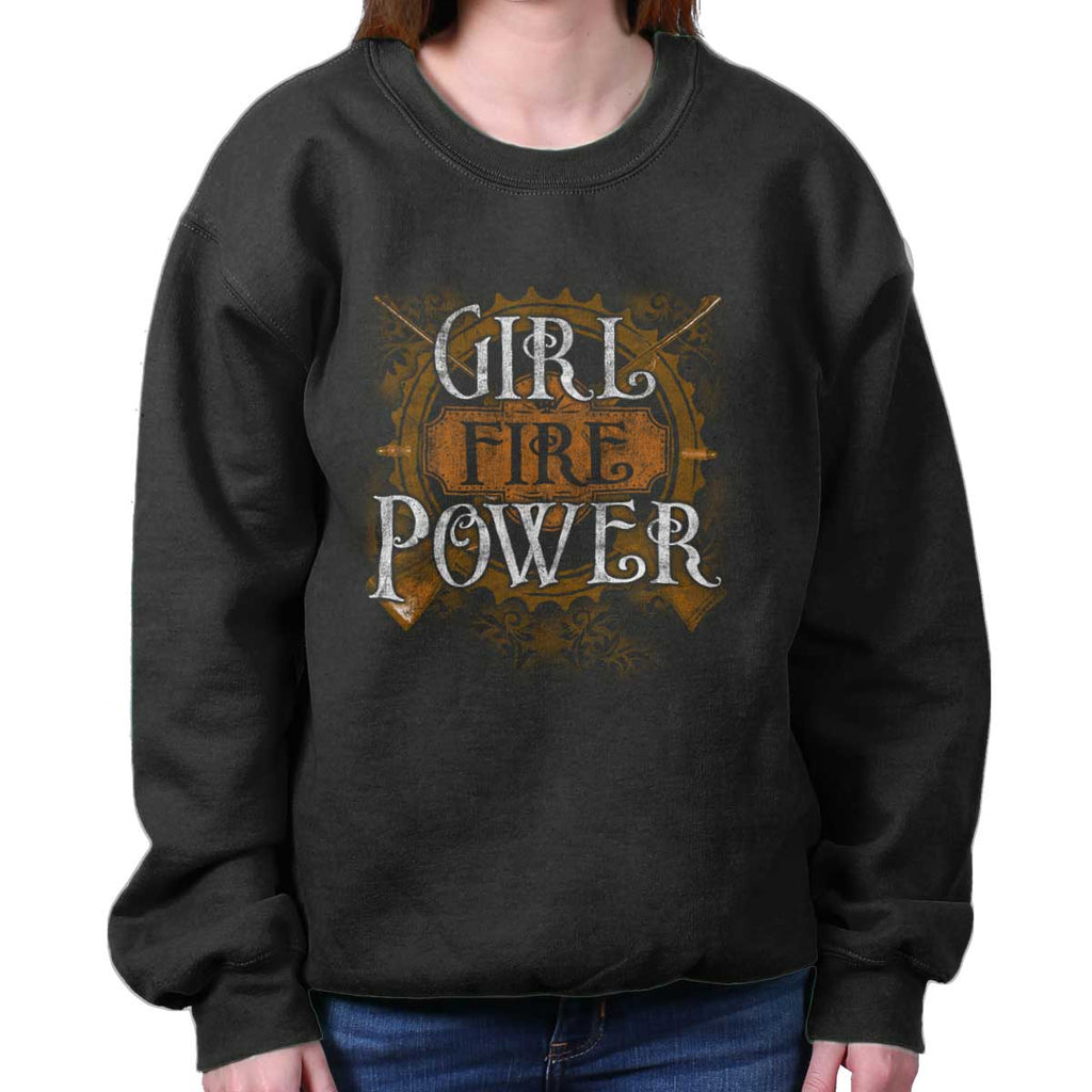 Black|Girl Fire Power Crewneck Sweatshirt|Tactical Tees