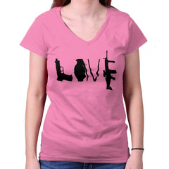 Azalea|Gun Love Junior Fit V-Neck T-Shirt|Tactical Tees