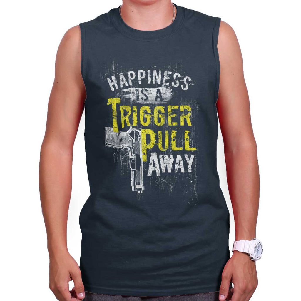 Navy|Happiness is A Trigger Pull Away Sleeveless T-Shirt|Tactical Tees