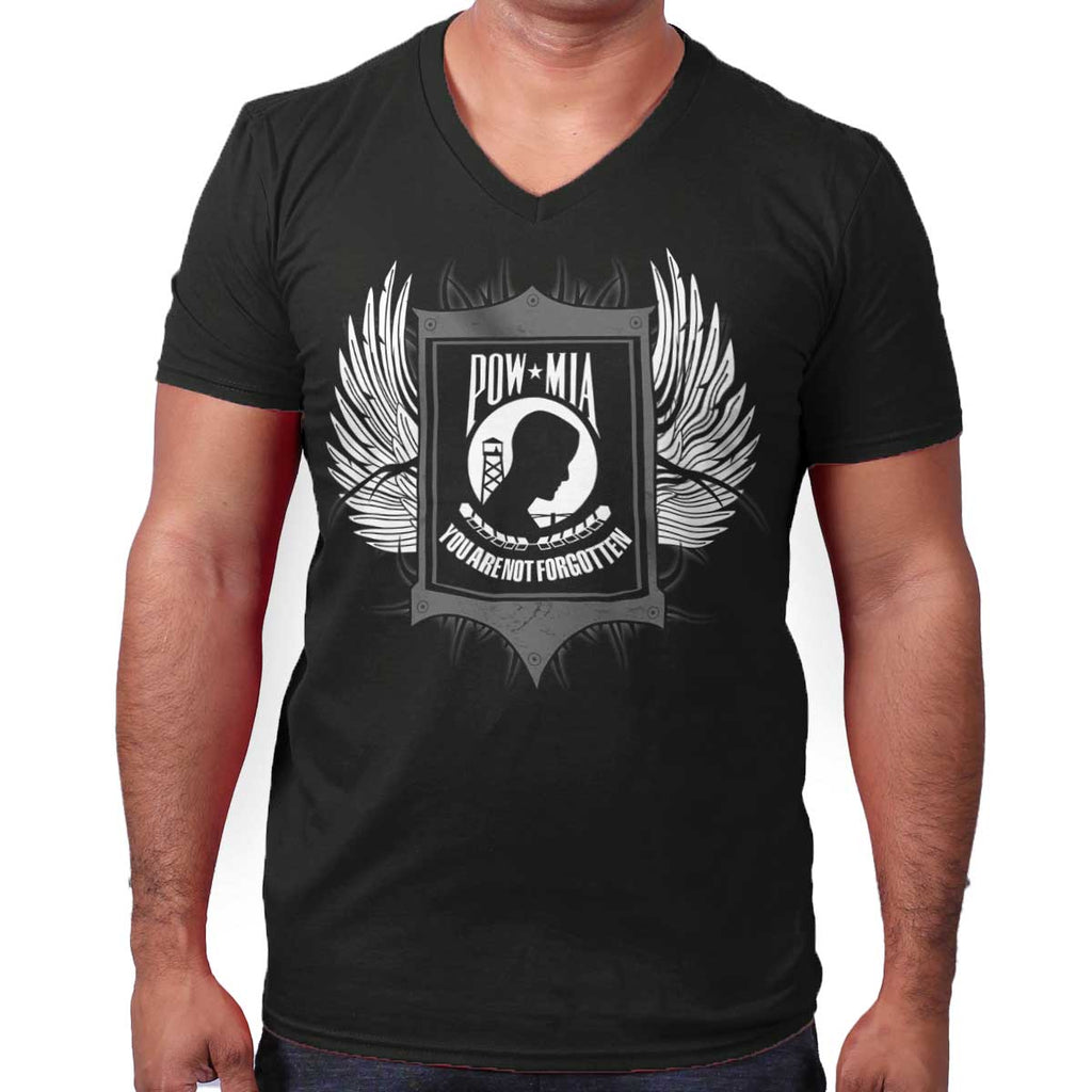 Black|POW MIA You Are Not Forgotten V-Neck T-Shirt|Tactical Tees
