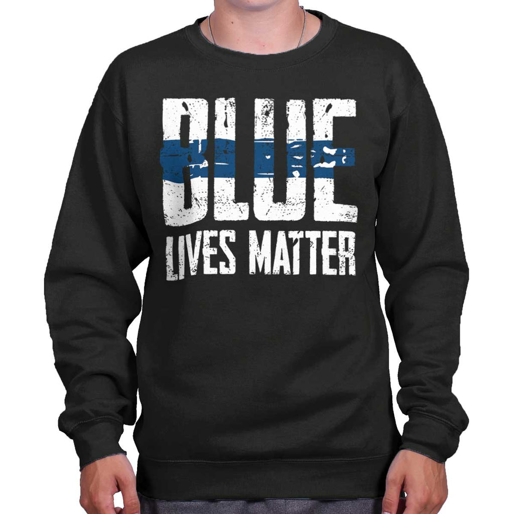 Black|Blue Lives Matter Line Crewneck Sweatshirt|Tactical Tees