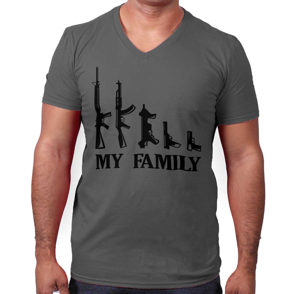Charcoal|My Family V-Neck T-Shirt|Tactical Tees
