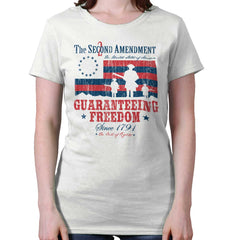 White|Guaranteeing Freedom Ladies T-Shirt|Tactical Tees