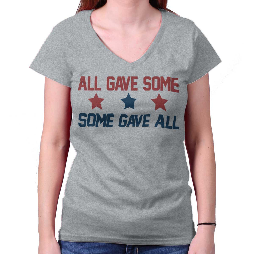 SportGrey|Some Gave All Junior Fit V-Neck T-Shirt|Tactical Tees