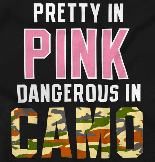 Black2|Pretty in Pink Dangerous in Camo Junior Fit V-Neck T-Shirt|Tactical Tees