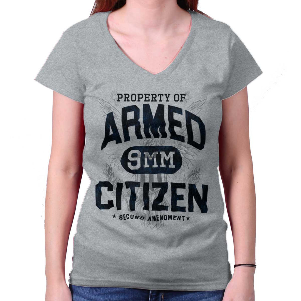 SportGrey|Armed Citizen Junior Fit V-Neck T-Shirt|Tactical Tees