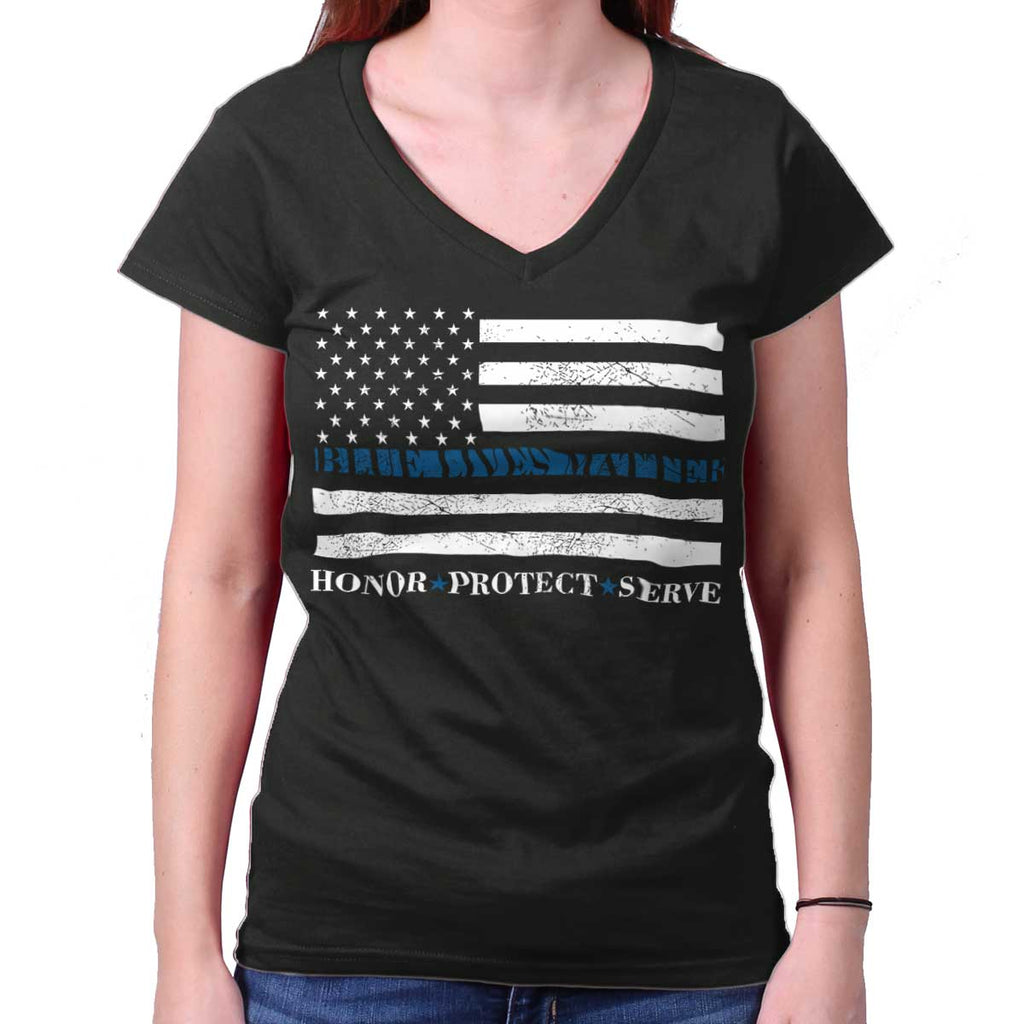 Black|Blue Lives Matter Honor Junior Fit V-Neck T-Shirt|Tactical Tees