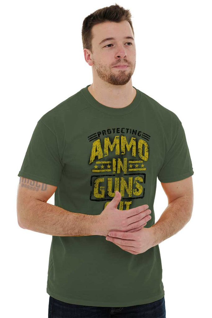 Male_MilitaryGreen2|Ammo In Guns Out Protecting Rights T-Shirt|Tactical Tees