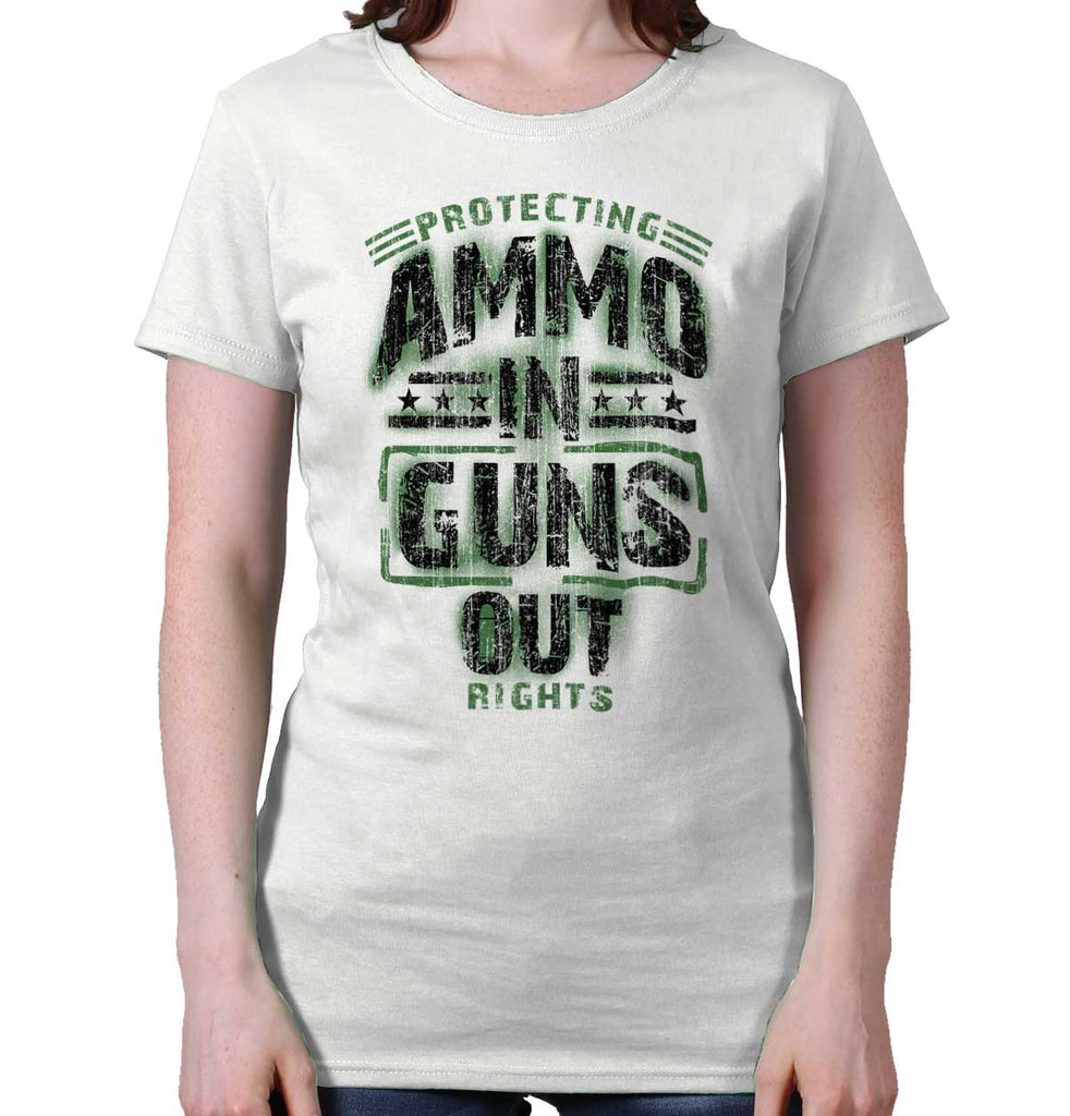 White|Ammo In Guns Out Protecting Rights Ladies T-Shirt|Tactical Tees
