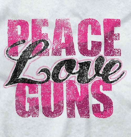 White2|Peace Love Guns Ladies T-Shirt|Tactical Tees
