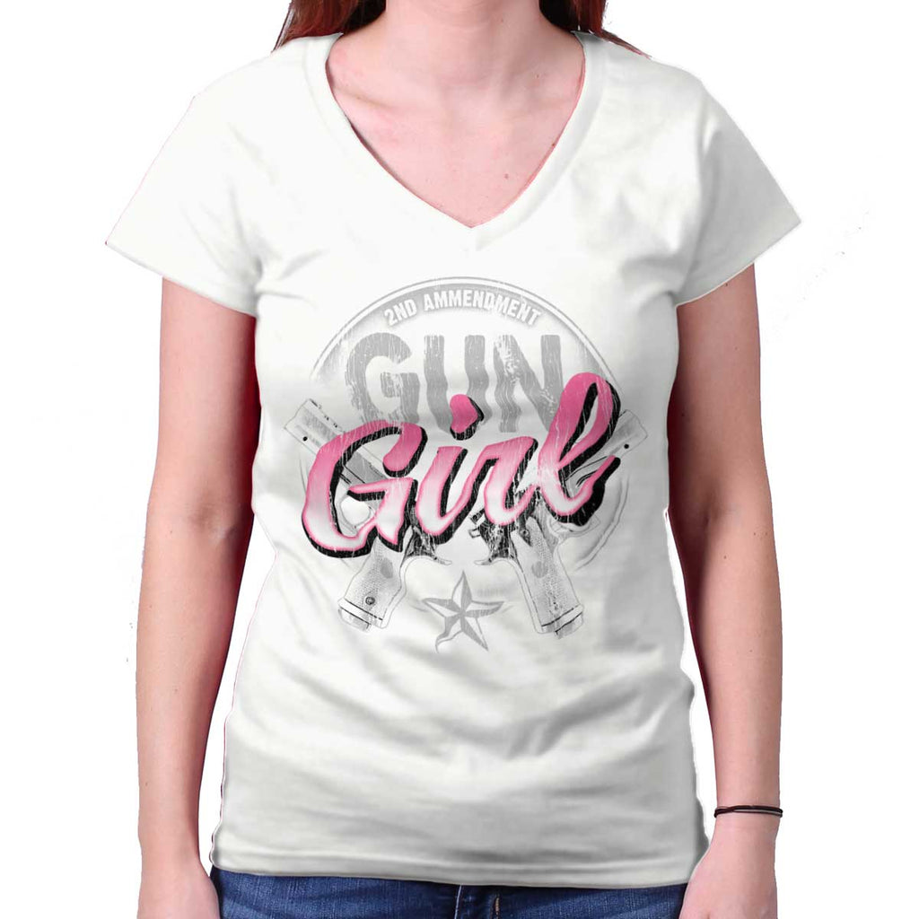 White|Gun Girl Junior Fit V-Neck T-Shirt|Tactical Tees