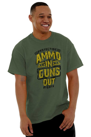 Male_MilitaryGreen1|Ammo In Guns Out Protecting Rights T-Shirt|Tactical Tees