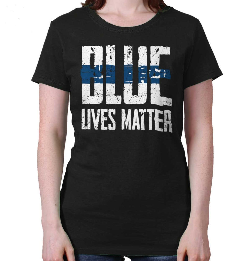 Black|Blue Lives Matter Line Ladies T-Shirt|Tactical Tees