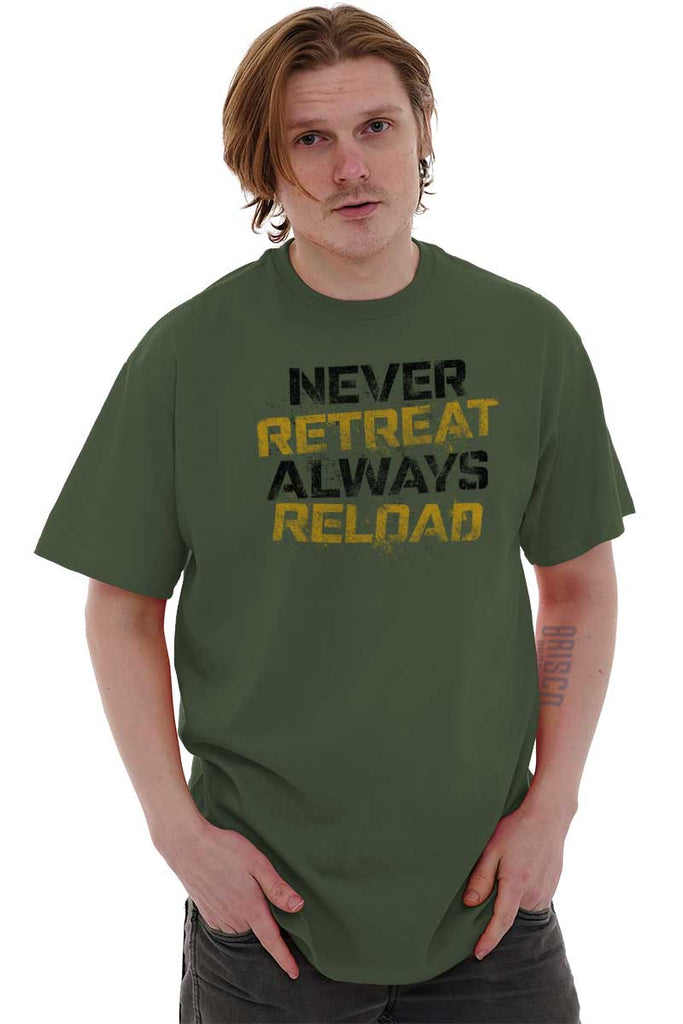 Male_MilitaryGreen2|Never retreat T-Shirt|Tactical Tees