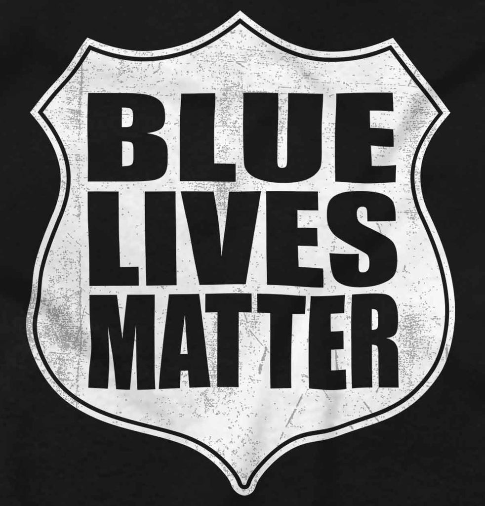 Black2|Blue Lives Matter Shield V-Neck T-Shirt|Tactical Tees