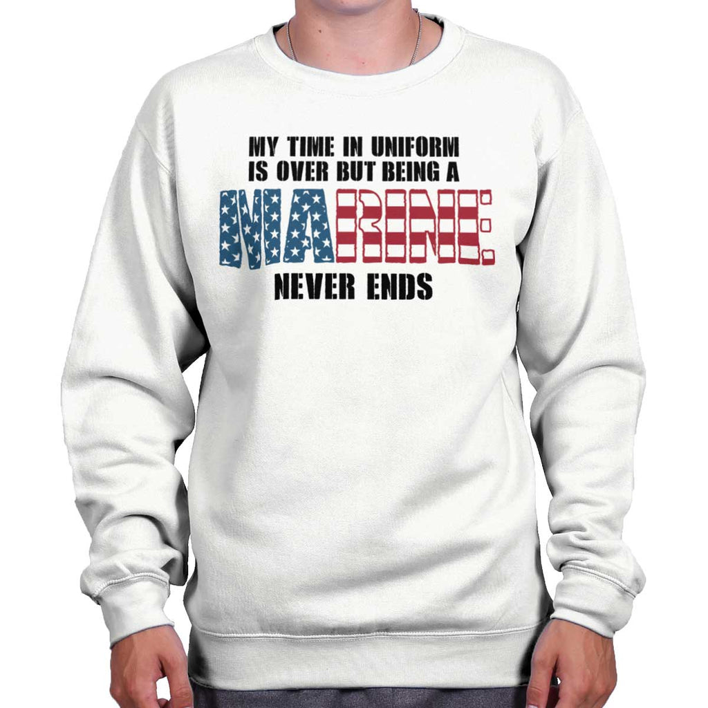 White|Marine Never Ends Crewneck Sweatshirt|Tactical Tees