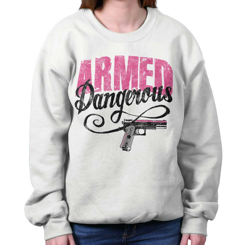 White|Armed & Dangerous Crewneck Sweatshirt|Tactical Tees