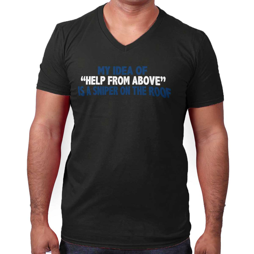 Black|Help From Above V-Neck T-Shirt|Tactical Tees