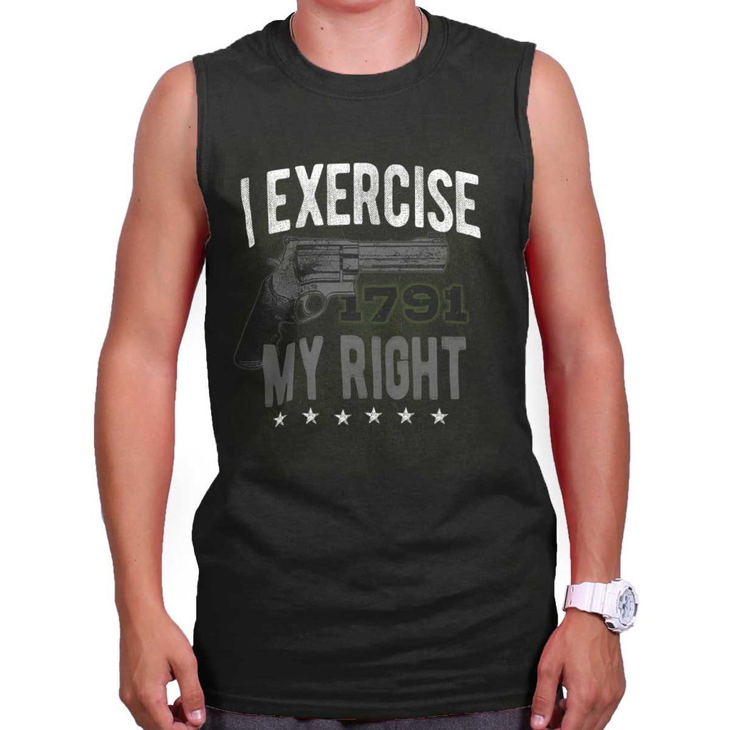 Black|I exercise My Right Sleeveless T-Shirt|Tactical Tees
