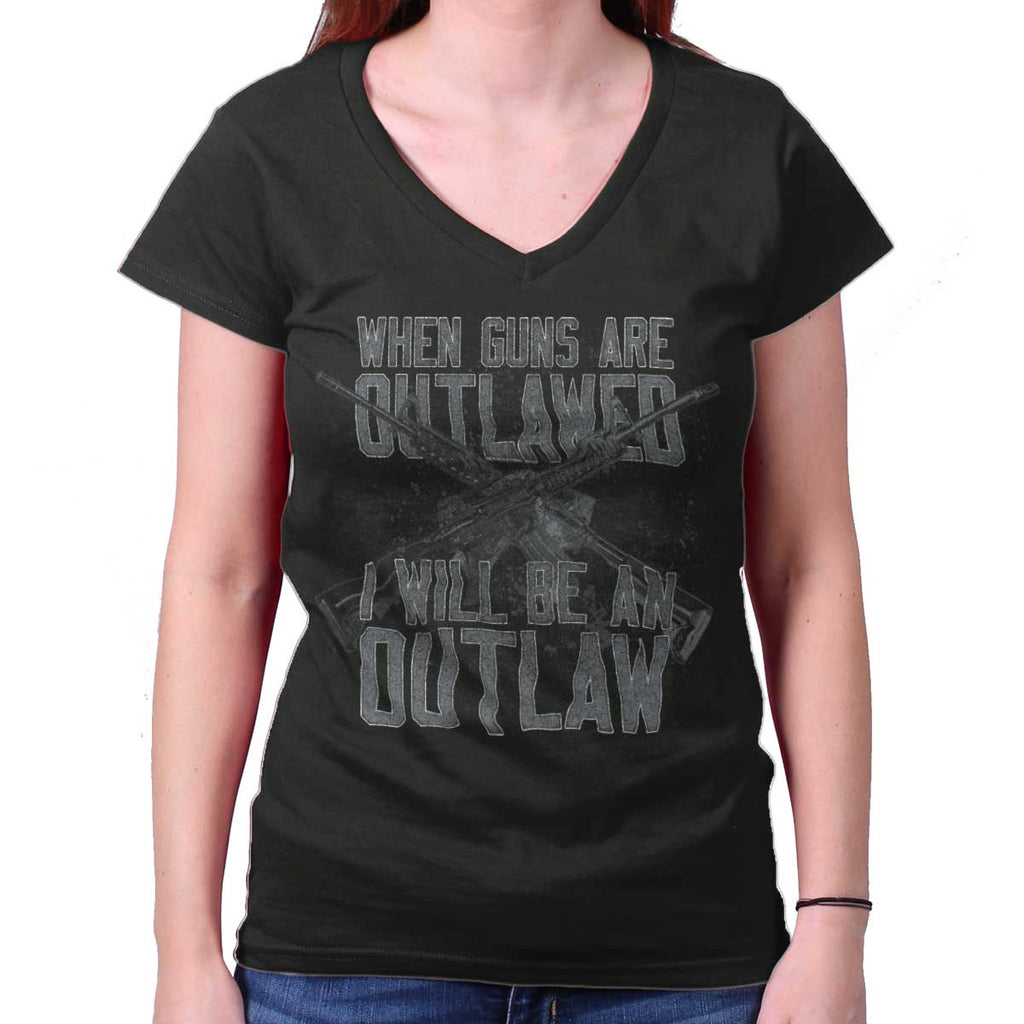 Black|Outlaw Junior Fit V-Neck T-Shirt|Tactical Tees