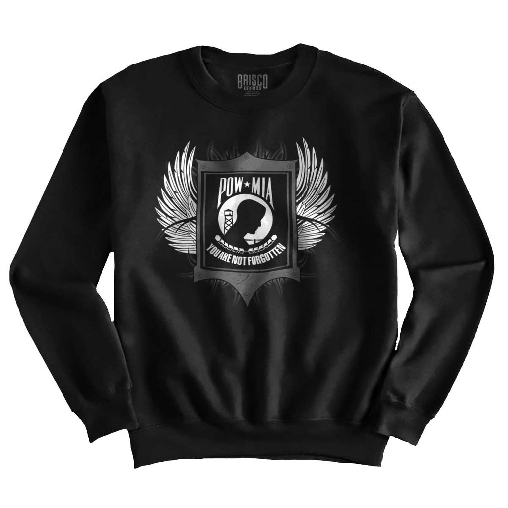 Black|POW MIA You Are Not Forgotten Crewneck Sweatshirt|Tactical Tees